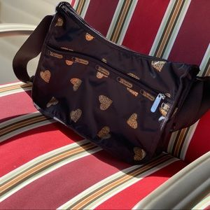Le SportSac shoulder bag black with gold hearts